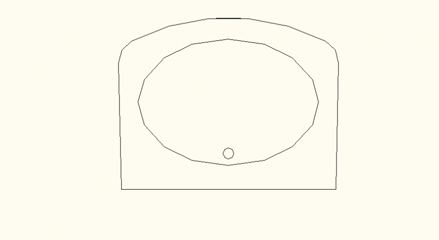 Ellipse shaped detail elevation and plan of wash basin