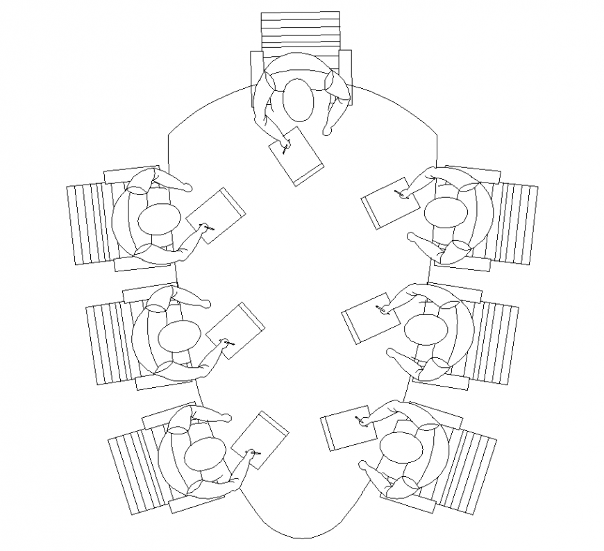 Elliptical shape design of table with chair in plan with furniture detail dwg file