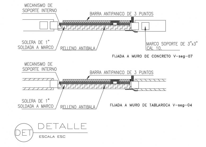 Emergency door plant cad drawing details dwg file