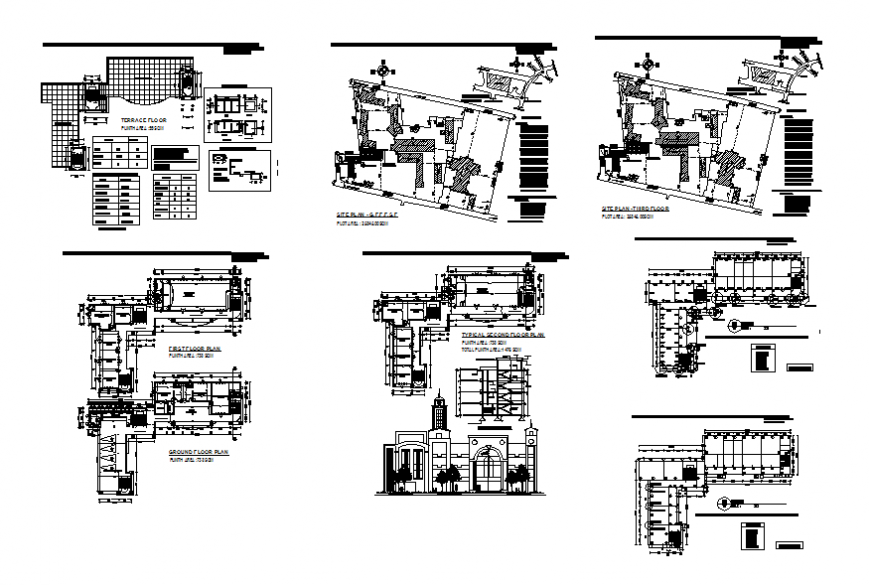 Engineering college elevation, section, floor plan, site plan and auto-cad details dwg file