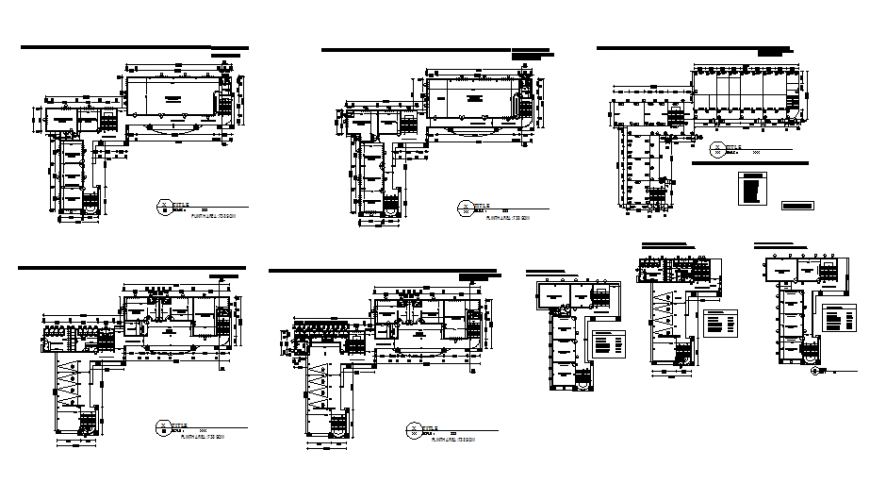 Engineering multi-level college floor plan and auto-cad details dwg file