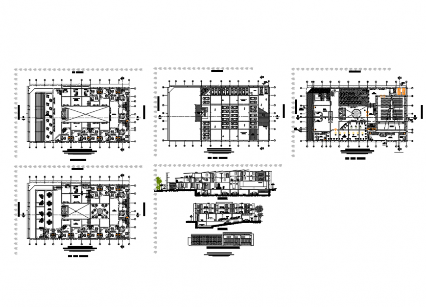 Entertainment center with theater elevation, section and floor plan details dwg file