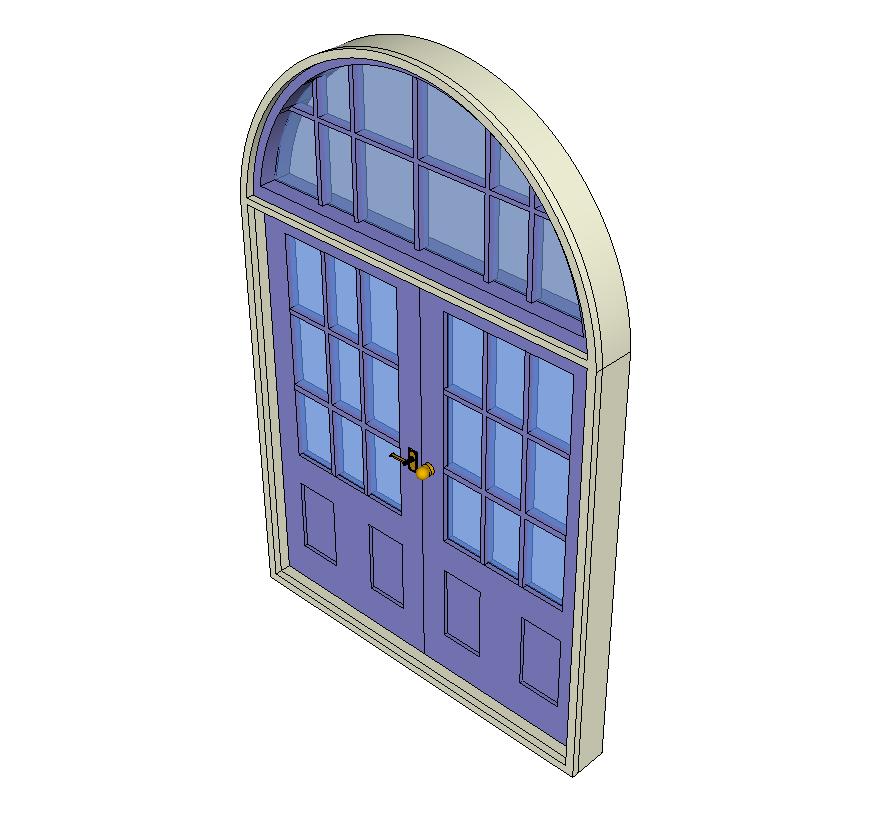 Entrance door detail elevation 3d model Sketch-up file