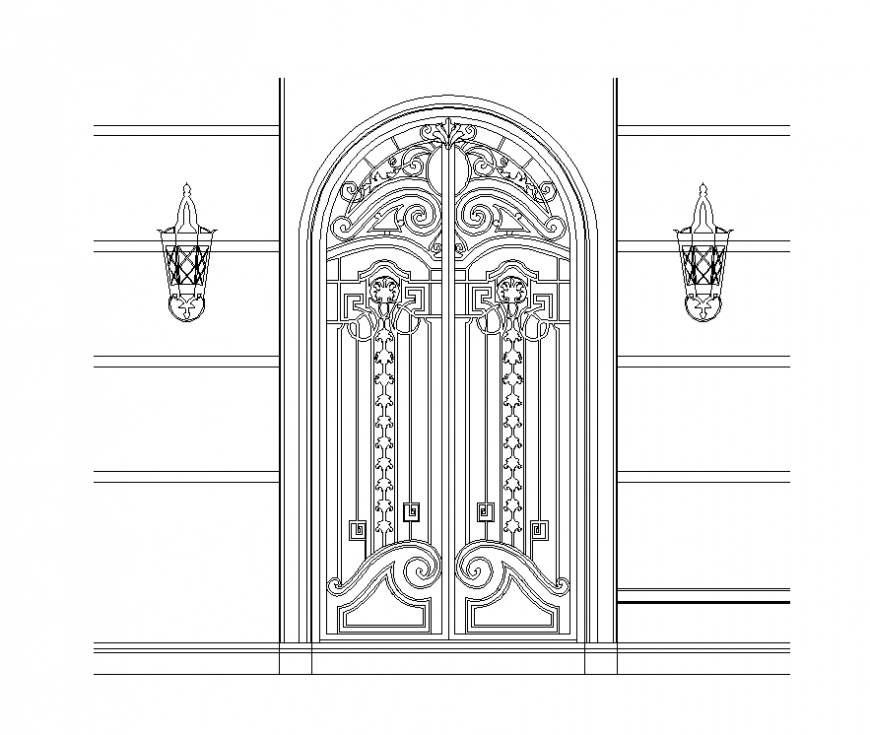 Entrance gate detail elevation 2d view dwg file