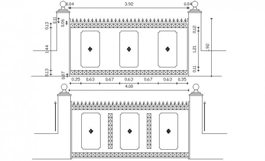 Entrance gate elevation drawing in autocad