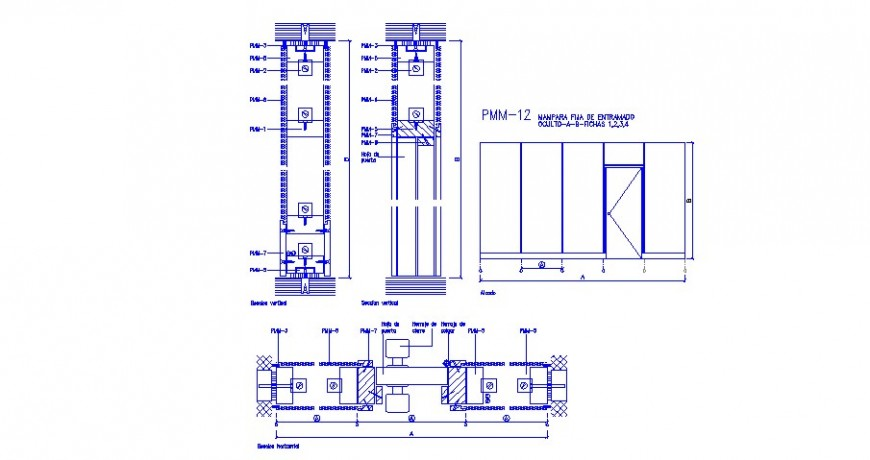 Entry door section and installation cad drawing details dwg file