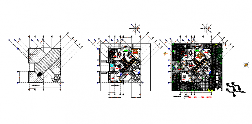 Environmental villa plan drawing in dwg file.