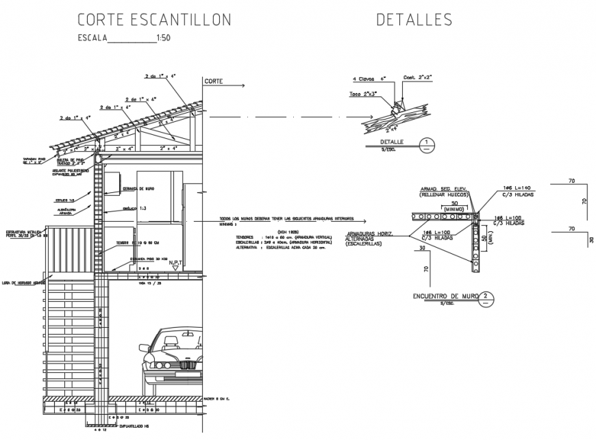 Escalation cut sectional constructive details of house dwg file