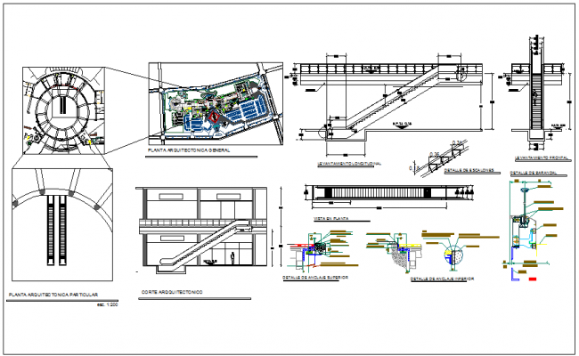 Escalator plan drawings dwg, escalator elevator detail dwg file