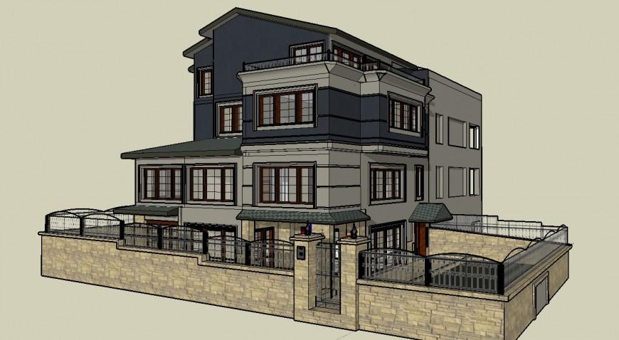 European style construction big house 3d