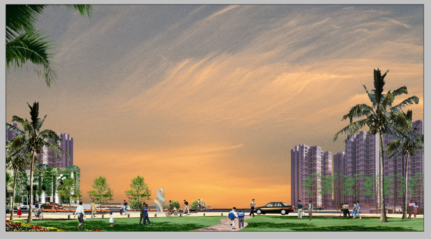 Evening scenario of area detail elevation 3d model photo shop file
