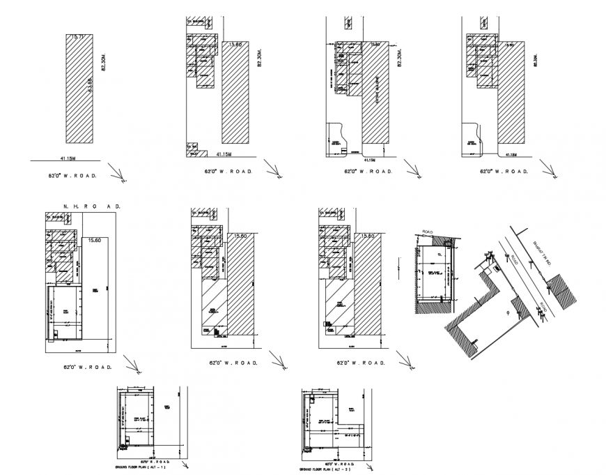 Ex building houses floor distribution plan cad drawing details dwg file