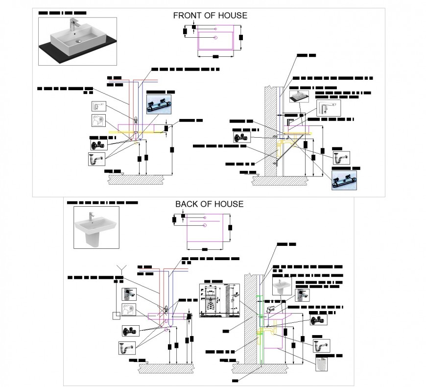 Execution detail for sanitary fixtures autocad file