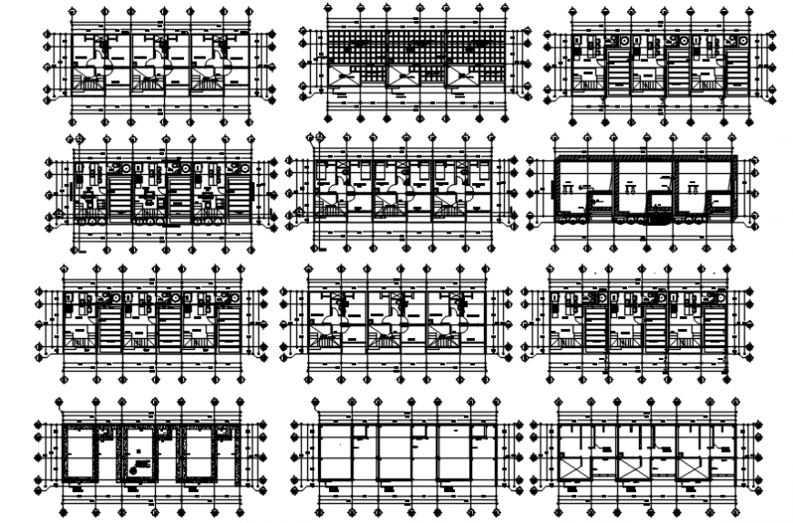 Executive head office building floor plan distribution drawing details dwg file