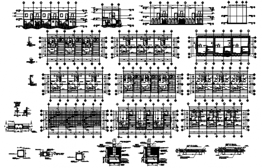 Executive head office building section, floor plan distribution drawing details dwg file