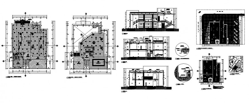 Executive office building elevation, section and floor plan cad drawing details dwg file