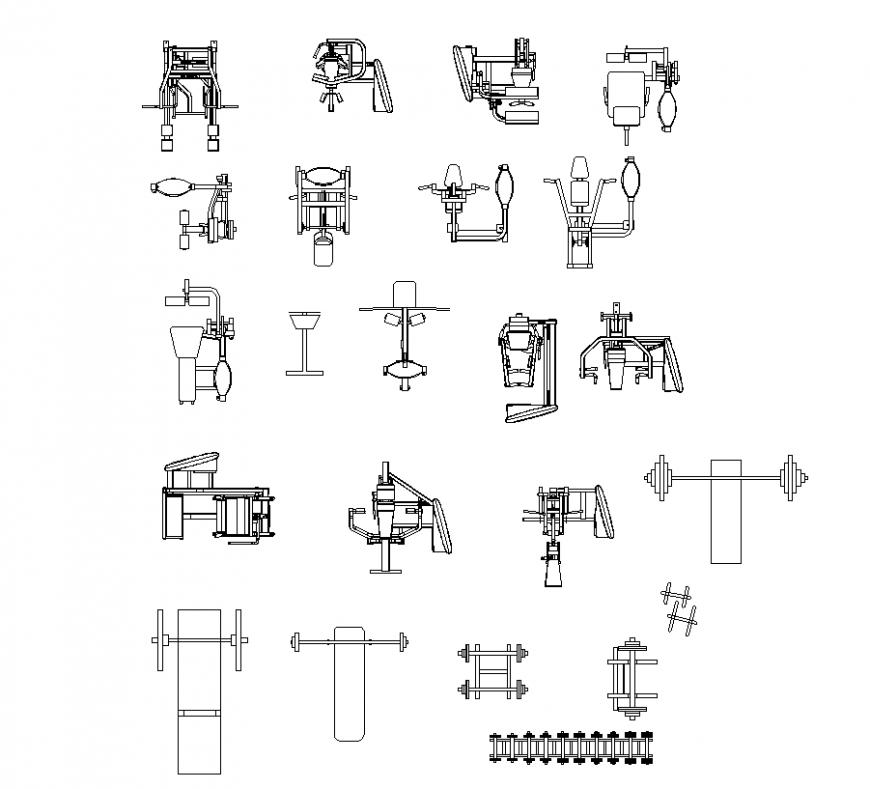 Exercise equipment design for Jim area dwg file