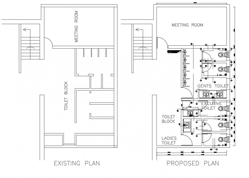 Existing and proposed floor plan drawing details of office dwg file