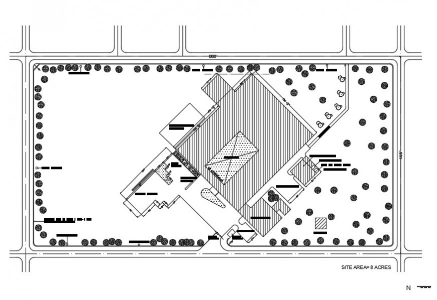 Existing Building and area detailing 2d view autocad file