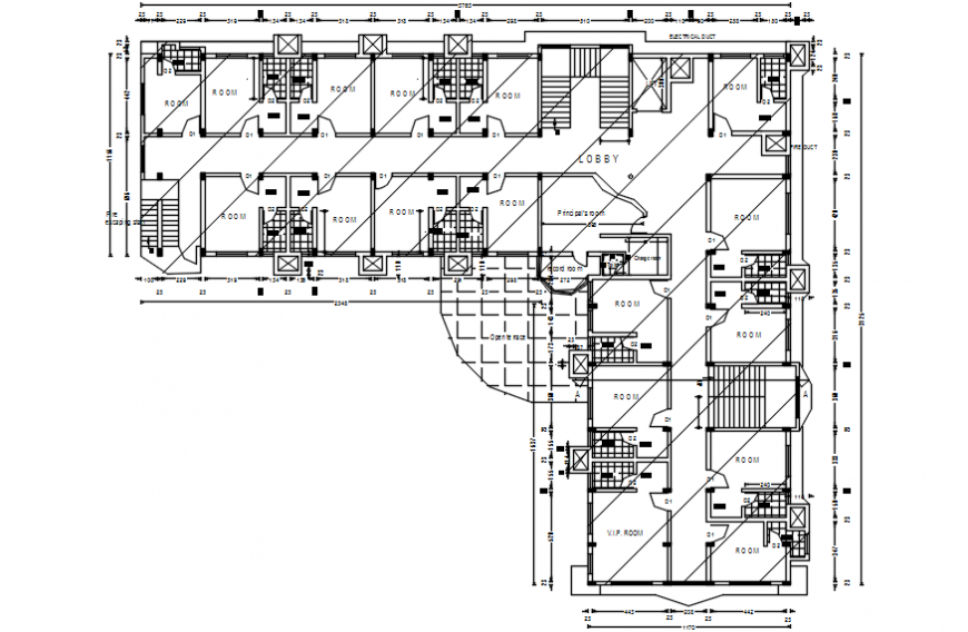 Existing first floor layout plan cad file