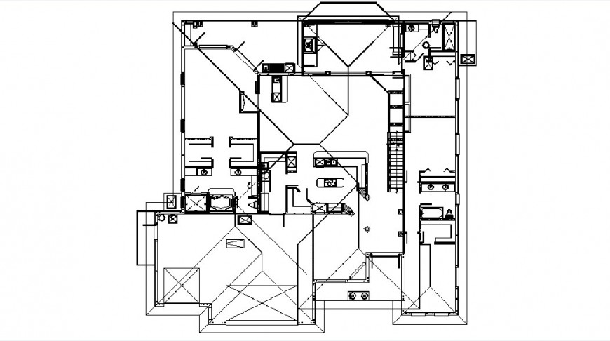 Existing house layout plan and framing structure details dwg file