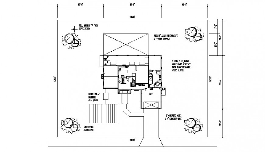 Existing house layout plan and landscaping structure drawing details dwg file