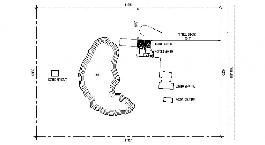 Existing lake propose layout and site plan details dwg file