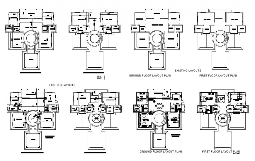 Existing layout and ground floor and first floor layout plan details of one family house dwg file