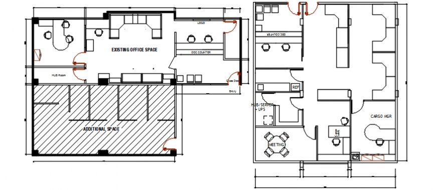 Existing office floor plan distribution cad drawing details dwg file