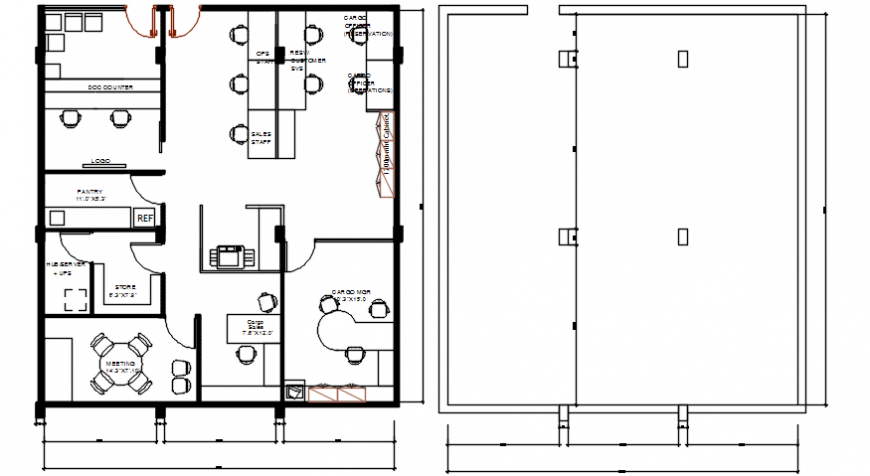 Exiting office layout plan and cover plan cad drawing details dwg file