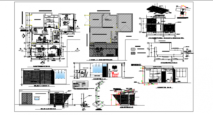Expansion of office and office furniture detail design drawing