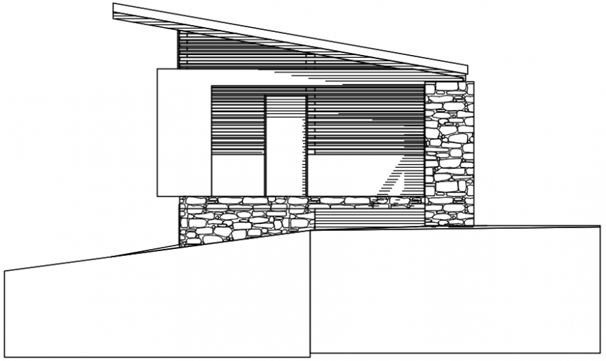 Exposed material elevation of house cad file