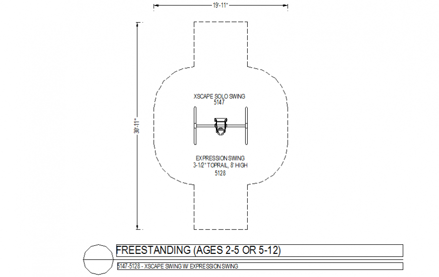 EXpression swing plan with freestanding view dwg file