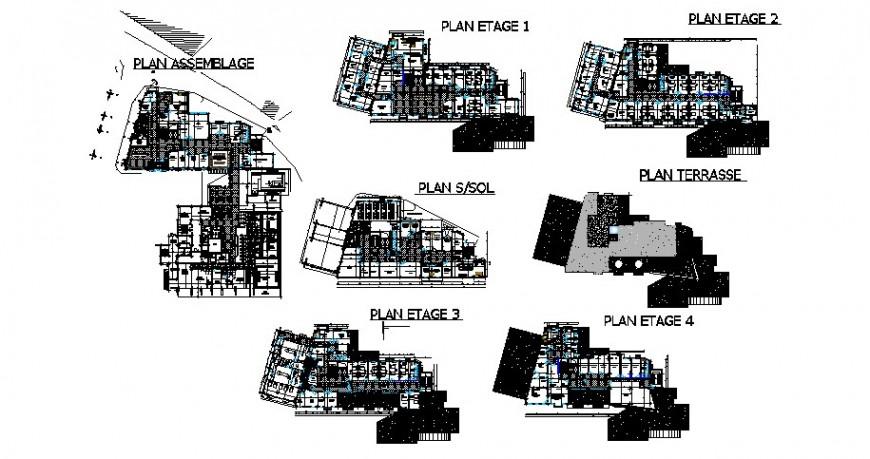 Extension of cancer hospital floor distribution plan cad drawing details dwg file