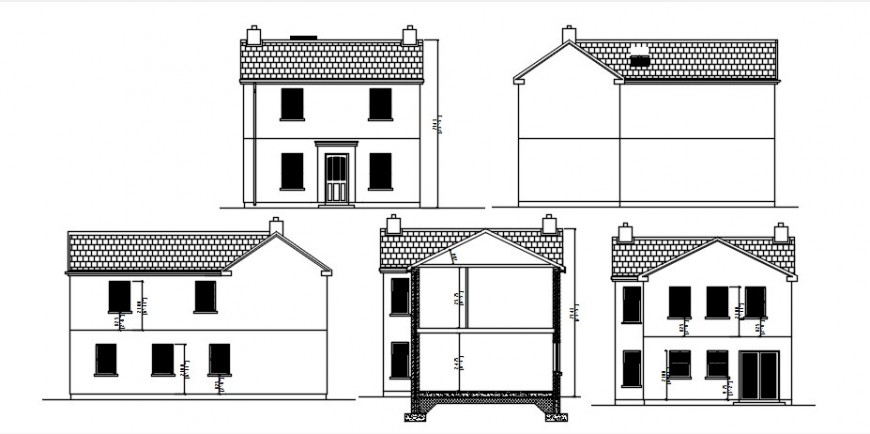 Extension to house all sided elevation and section drawing details dwg file