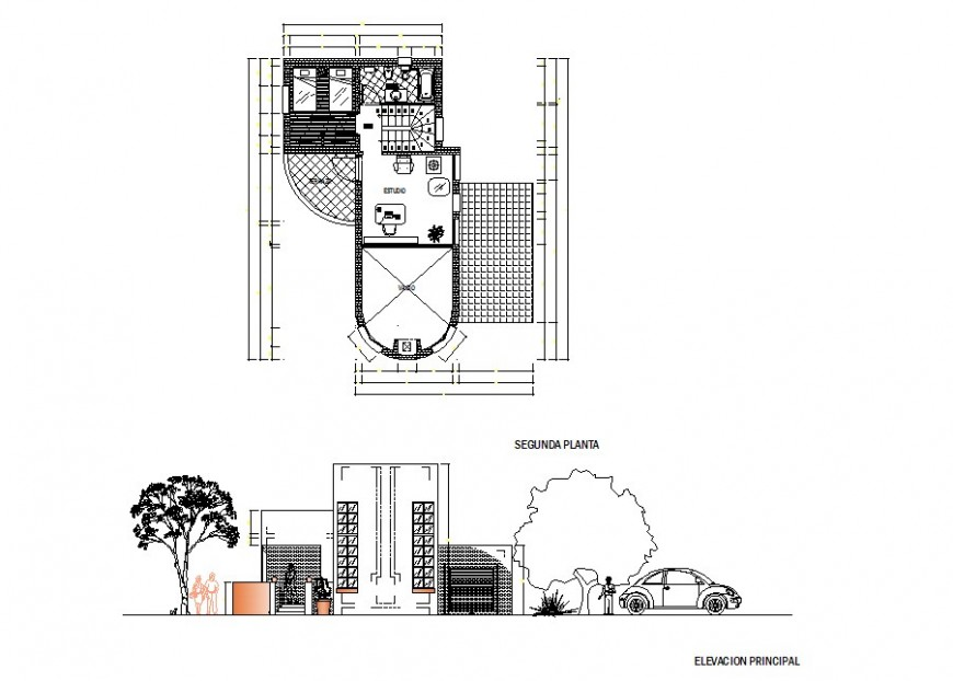 Exterior building and top view plan detail dwg file
