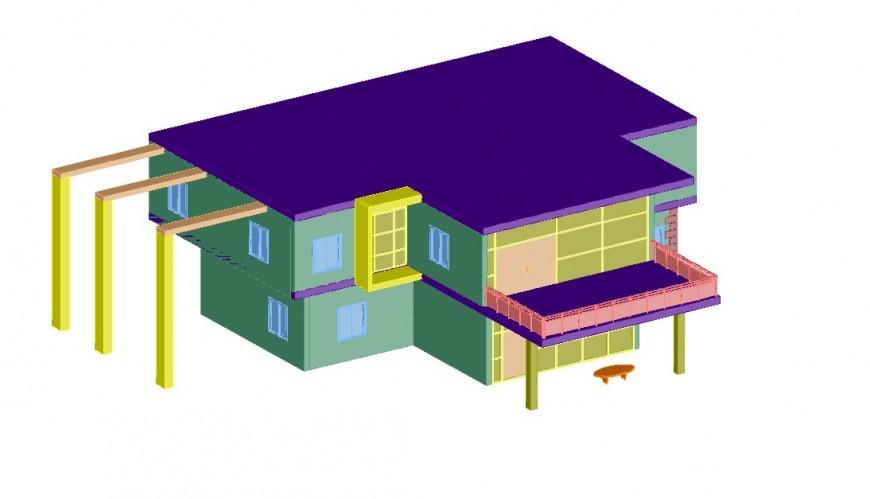 Exterior facade  3d model elevation dwg file