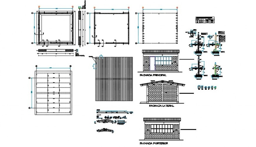 Exterior view of a school sectional detail dwg file