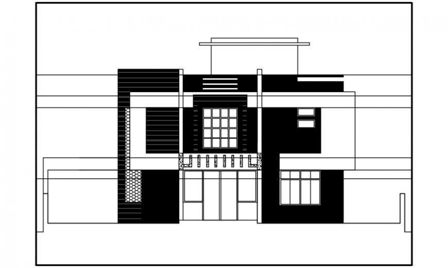 Exterior view of bungalow 2d dwg file