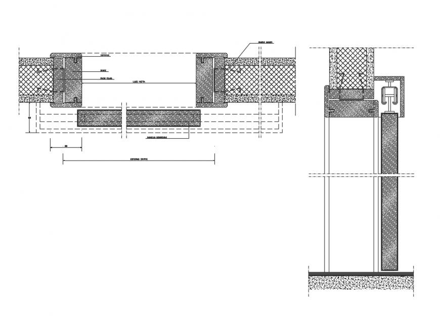 External sliding door installation and joints details dwg file