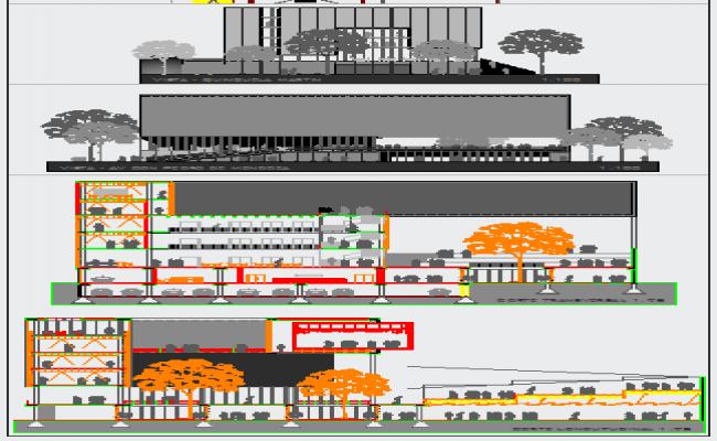 Elevation design of High rise building design drawing