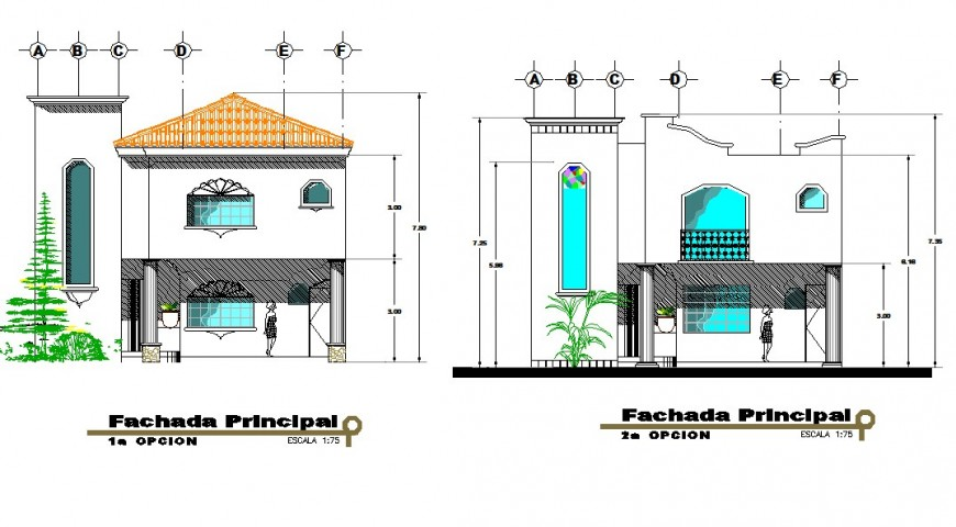 Façade elevation detail drawing of bungalow in dwg AutoCAD file.