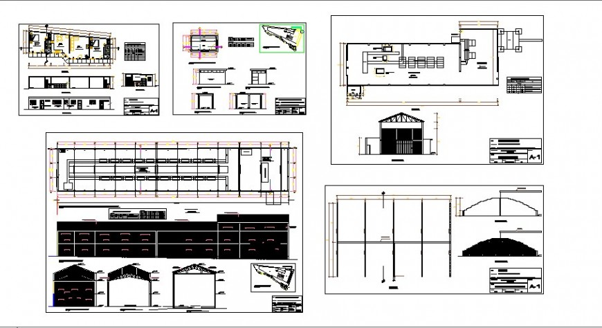 Fabric industrial plant elevation, section and plan details dwg file