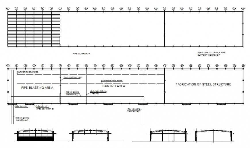Fabric processing plant detailed architecture project dwg file