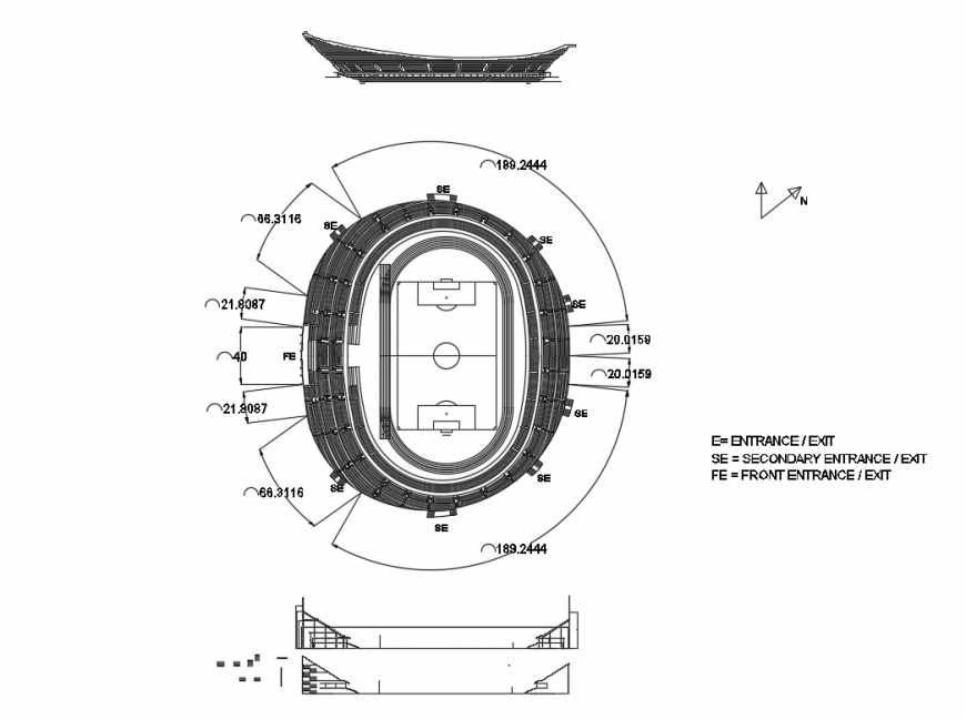 Fabulous Olympic sports stadium top view cad plan details dwg file