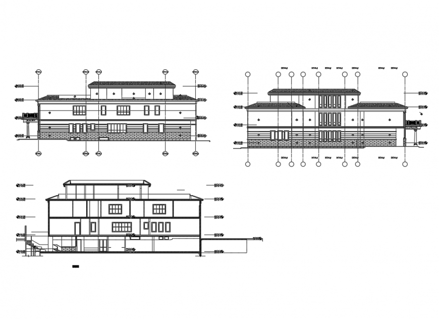Facade and back elevation and facade section of villa details dwg file