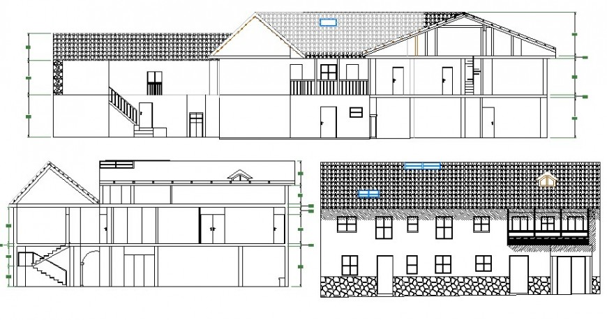 Facade and back elevation and main section details of restaurant cad drawing details dwg file