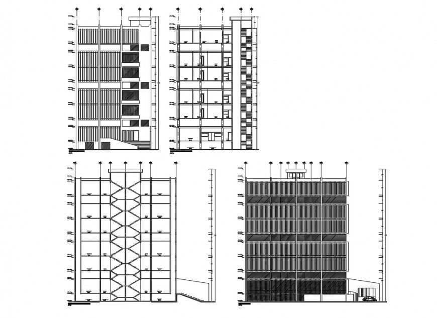 Facade and back elevation and section details of corporate building dwg file