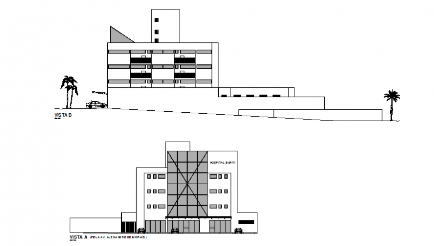 Facade and back elevation details of multi-flooring hospital dwg file