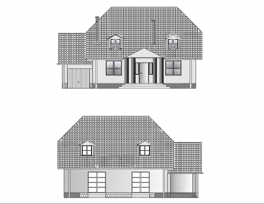 Facade and back elevation details of small family house dwg file